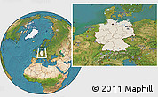 Shaded Relief Location Map of Germany, satellite outside