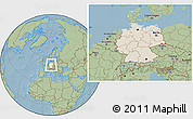 Shaded Relief Location Map of Germany, savanna style outside, hill shading