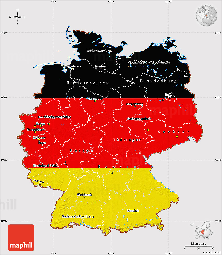 Flag Map Of Germany - Germany maps