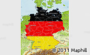 Flag Map of Germany, physical outside