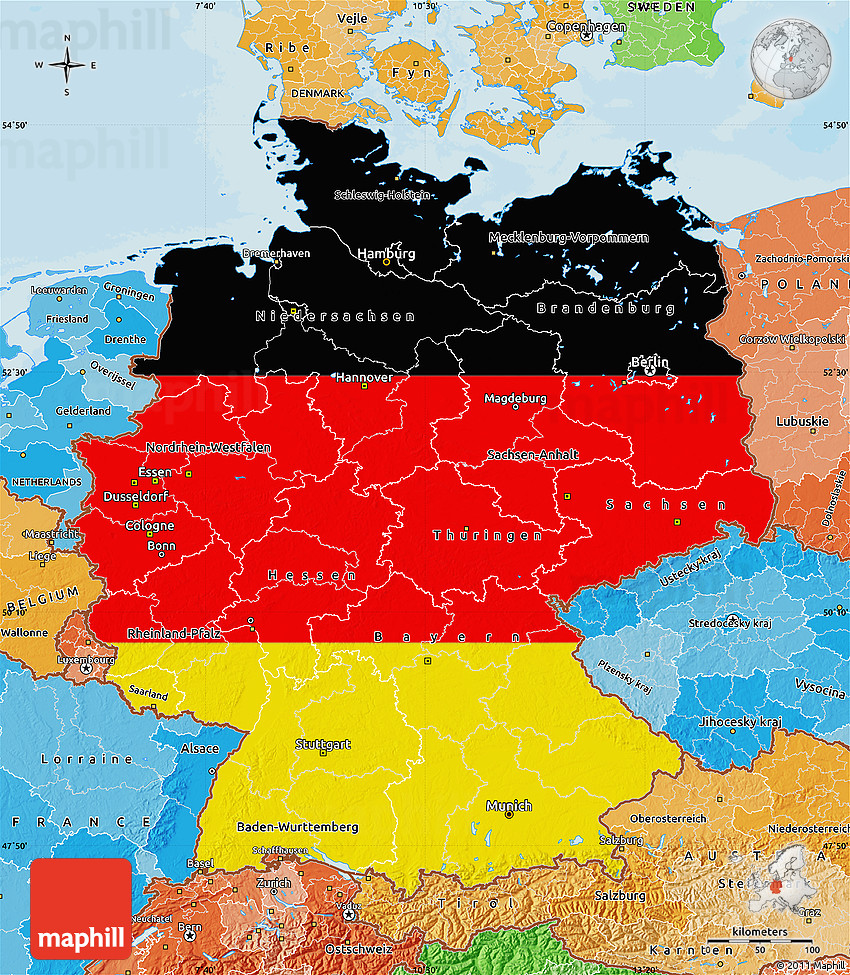 flag map of germany political shades outside