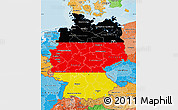 Flag Map of Germany, political shades outside