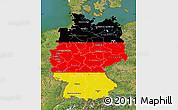 Flag Map of Germany, satellite outside