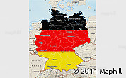 Flag Map of Germany, shaded relief outside