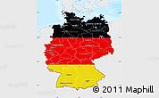 Flag Map of Germany, single color outside, bathymetry sea