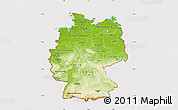 Physical Map of Germany, cropped outside