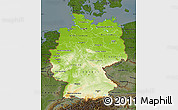 Physical Map of Germany, darken