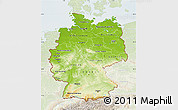 Physical Map of Germany, lighten