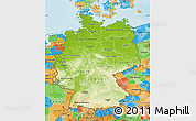 Physical Map of Germany, political outside, shaded relief sea