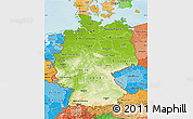 Physical Map of Germany, political shades outside, shaded relief sea