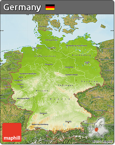 Free Physical Map Of Germany Satellite Outside Shaded Relief Sea - Germany physical map