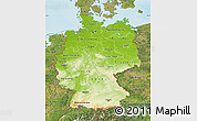 Physical Map of Germany, satellite outside, shaded relief sea