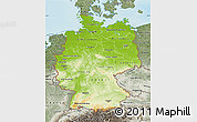 Physical Map of Germany, semi-desaturated, land only