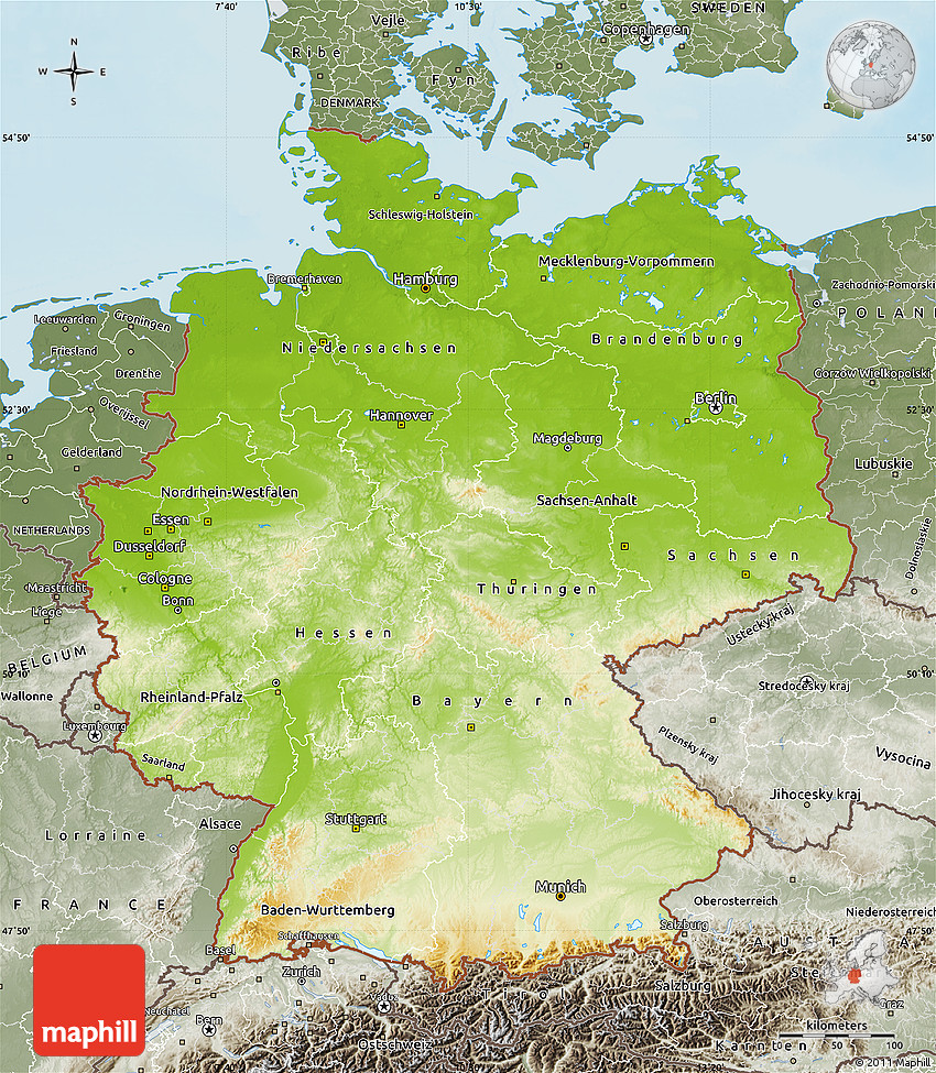 Physical Map of Germany, semi-desaturated, land only on information only, drawing of only, index of only,