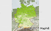 Physical Map of Germany, semi-desaturated