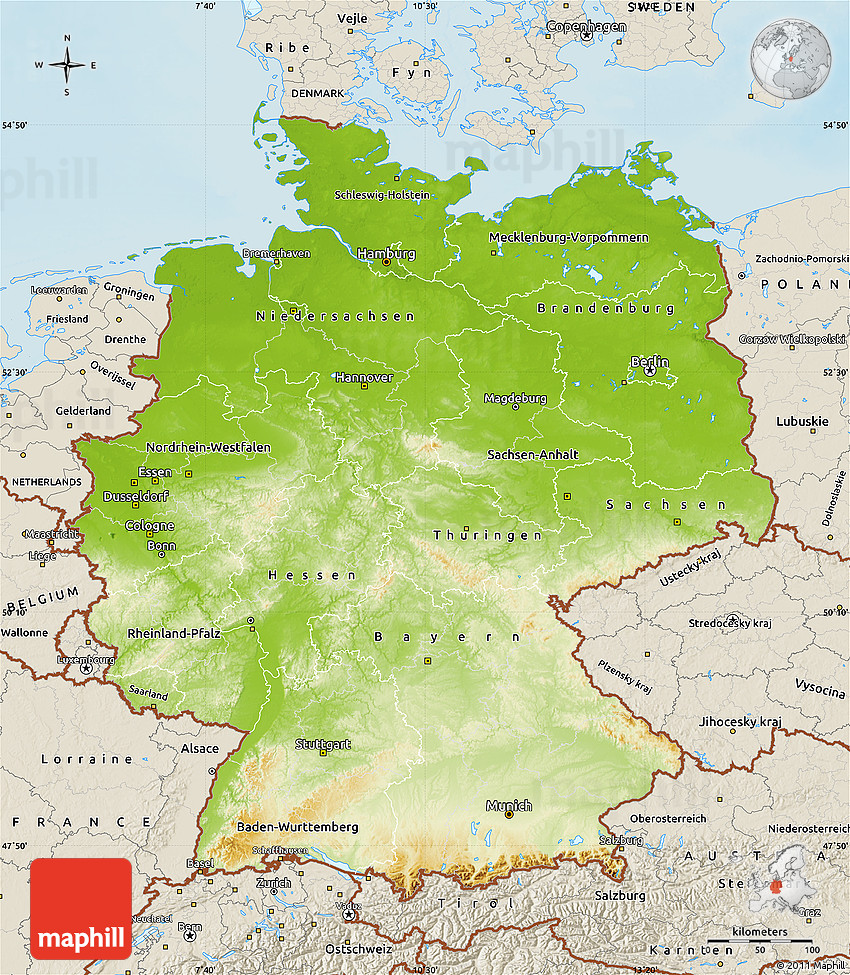 Physical Map Of Germany Shaded Relief Outside - Germany physical map