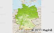 Physical Map of Germany, shaded relief outside