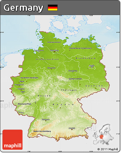 Free Physical Map Of Germany Single Color Outside - Germany physical map