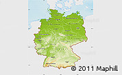 Physical Map of Germany, single color outside
