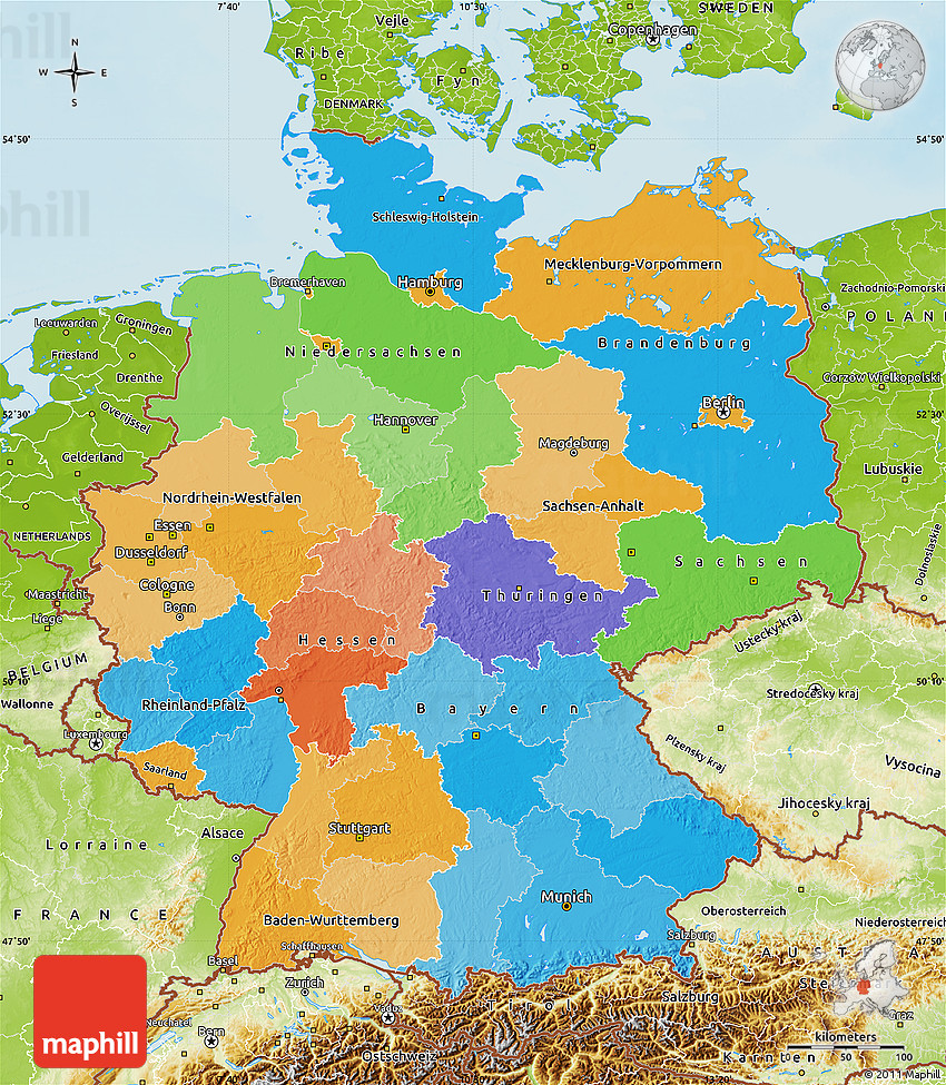 political map of germany physical outside