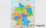 Political Map of Germany, shaded relief outside