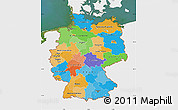Political Map of Germany, single color outside, satellite sea
