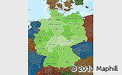 Political Shades Map of Germany, darken, land only