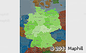 Political Shades Map of Germany, darken