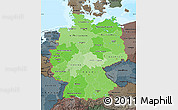 Political Shades Map of Germany, darken, semi-desaturated, land only