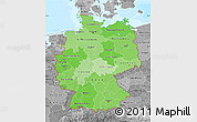 Political Shades Map of Germany, desaturated, land only