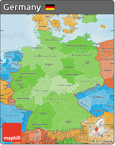 Political Shades Map of Germany