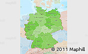 Political Shades Map of Germany, lighten, land only