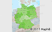 Political Shades Map of Germany, lighten, semi-desaturated, land only