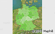 Political Shades Map of Germany, satellite outside