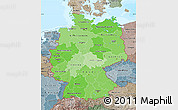 Political Shades Map of Germany, semi-desaturated, land only