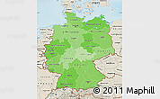 Political Shades Map of Germany, shaded relief outside