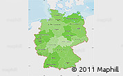 Political Shades Map of Germany, single color outside