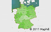 Political Shades Map of Germany, single color outside, satellite sea