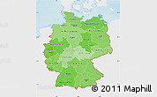 Political Shades Map of Germany, single color outside, shaded relief sea