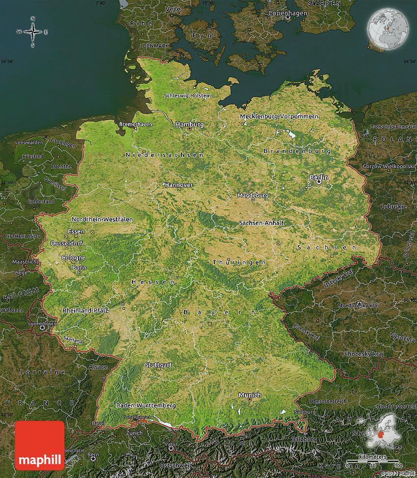 Satellite Map of Germany darken Germany Satellite