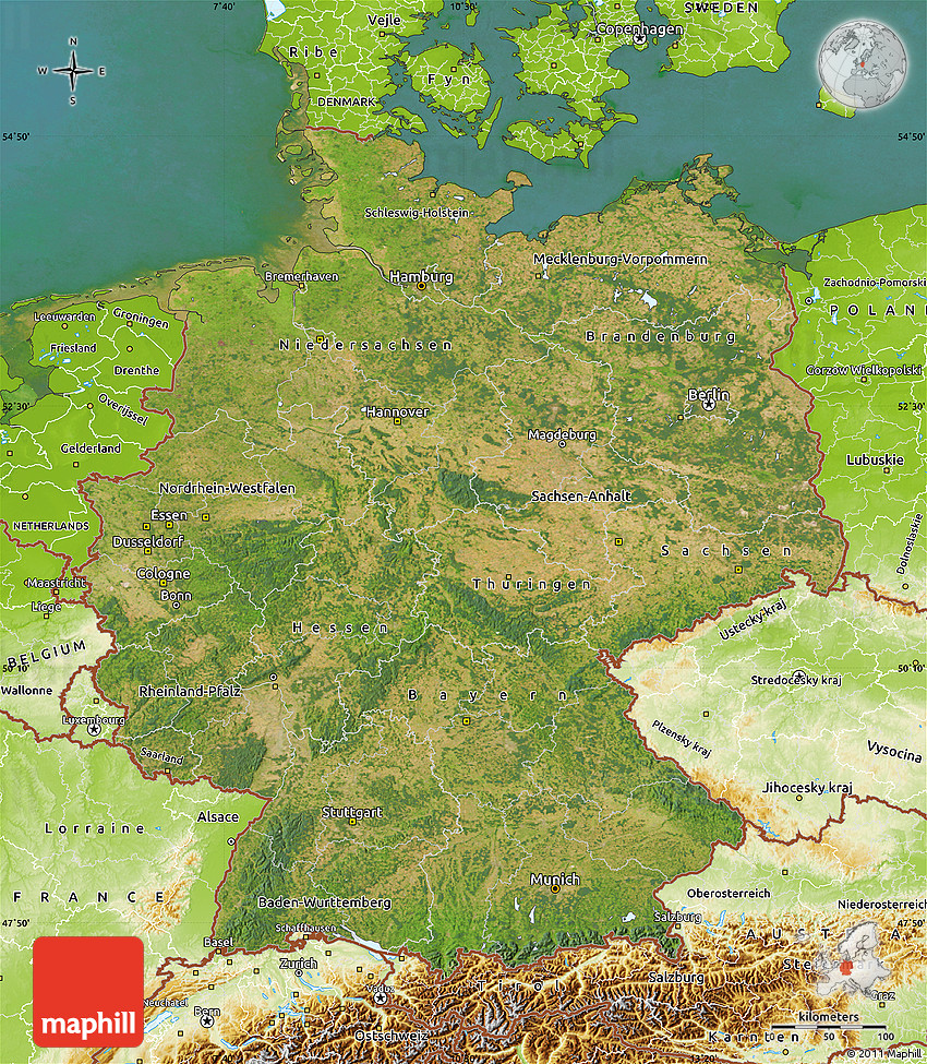 Satellite Map of Germany physical outside satellite sea