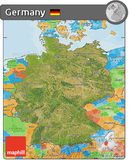 Free Satellite Map of Germany political outside