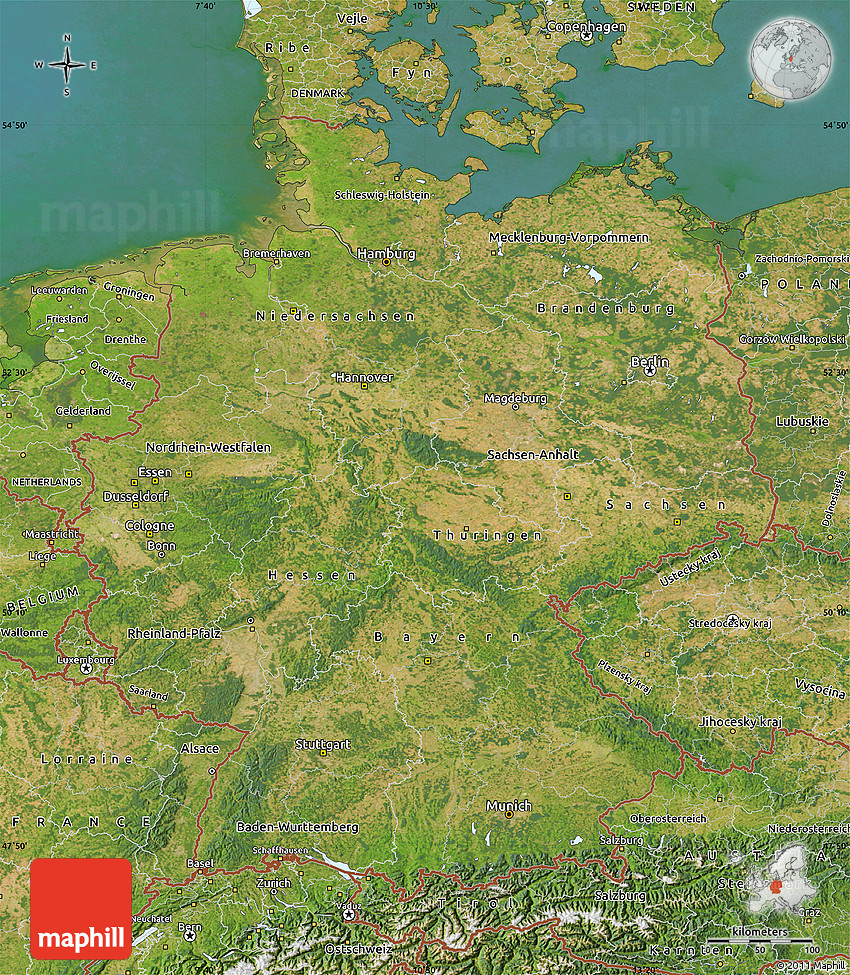 Satellite Map of Germany