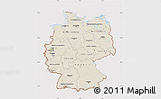 Shaded Relief Map of Germany, cropped outside