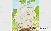 Shaded Relief Map of Germany, physical outside