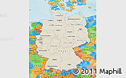 Shaded Relief Map of Germany, political outside, shaded relief sea