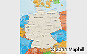 Shaded Relief Map of Germany, political shades outside, shaded relief sea
