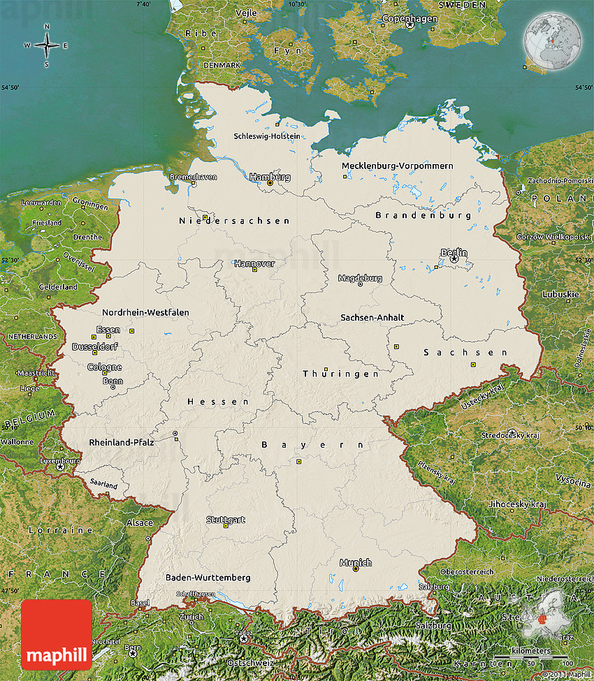 Shaded Relief Map of Germany satellite outside