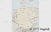 Shaded Relief Map of Germany, semi-desaturated
