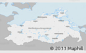 Gray 3D Map of Mecklenburg-Vorpommern, single color outside